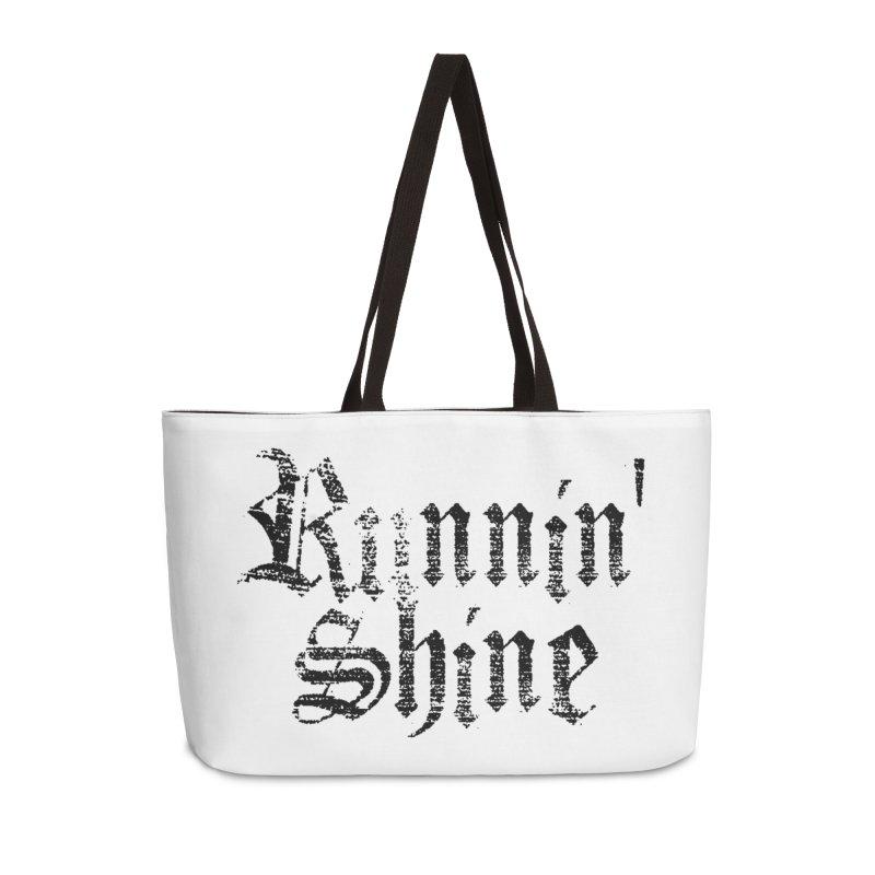Black Logo Accessories Weekender Bag Bag by Runnin' Shine Store