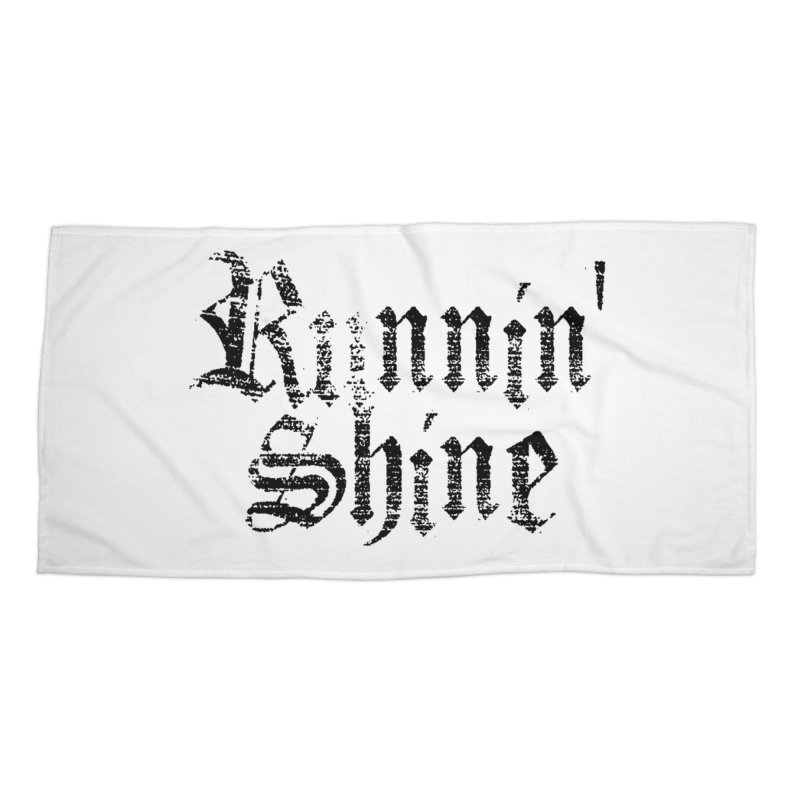 Black Logo Accessories Beach Towel by Runnin' Shine Store
