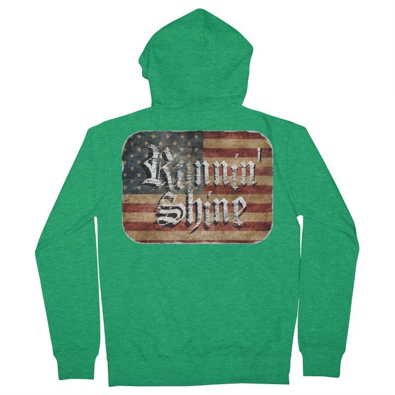 Runnin' Shine Flag Women's French Terry Zip-Up Hoody by Runnin' Shine Store