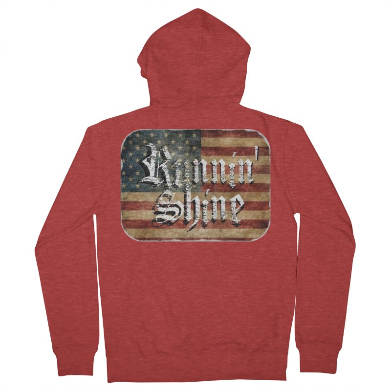 Runnin' Shine Flag Men's French Terry Zip-Up Hoody by Runnin' Shine Store