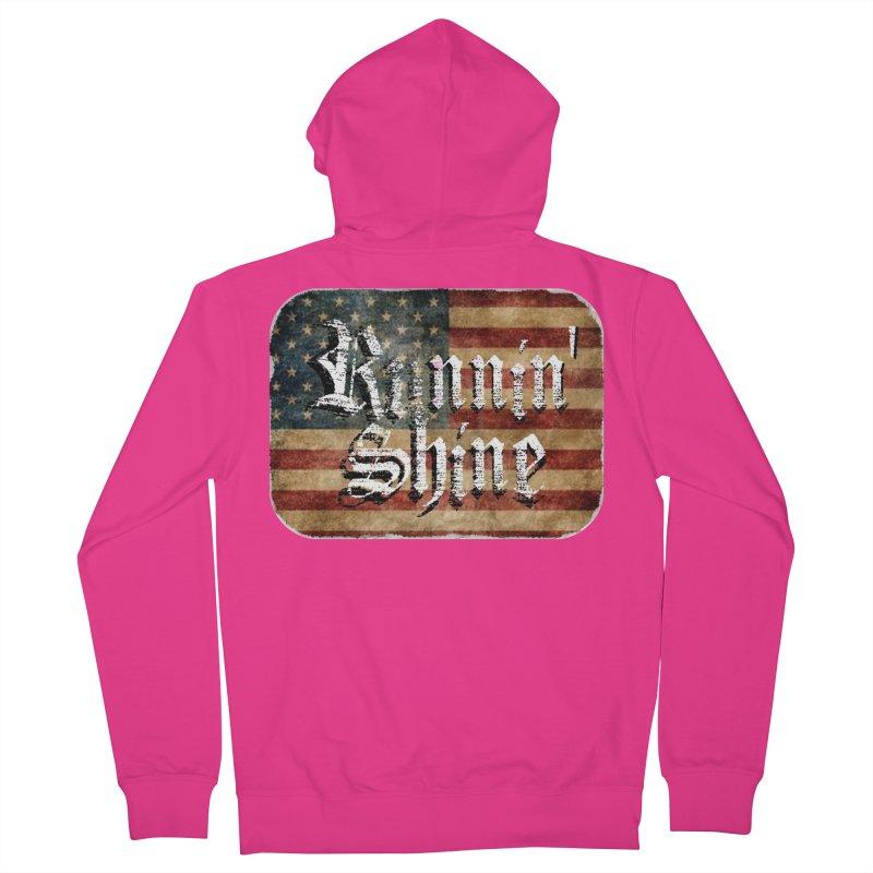 Runnin' Shine Flag Men's French Terry Zip-Up Hoody by Runnin' Shine Store