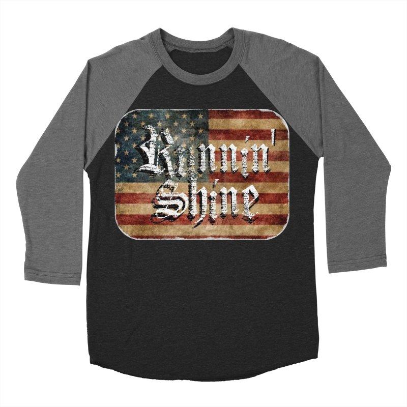 Runnin' Shine Flag Men's Baseball Triblend Longsleeve T-Shirt by Runnin' Shine Store