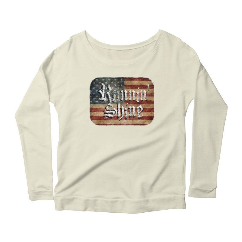 Runnin' Shine Flag Women's Scoop Neck Longsleeve T-Shirt by Runnin' Shine Store