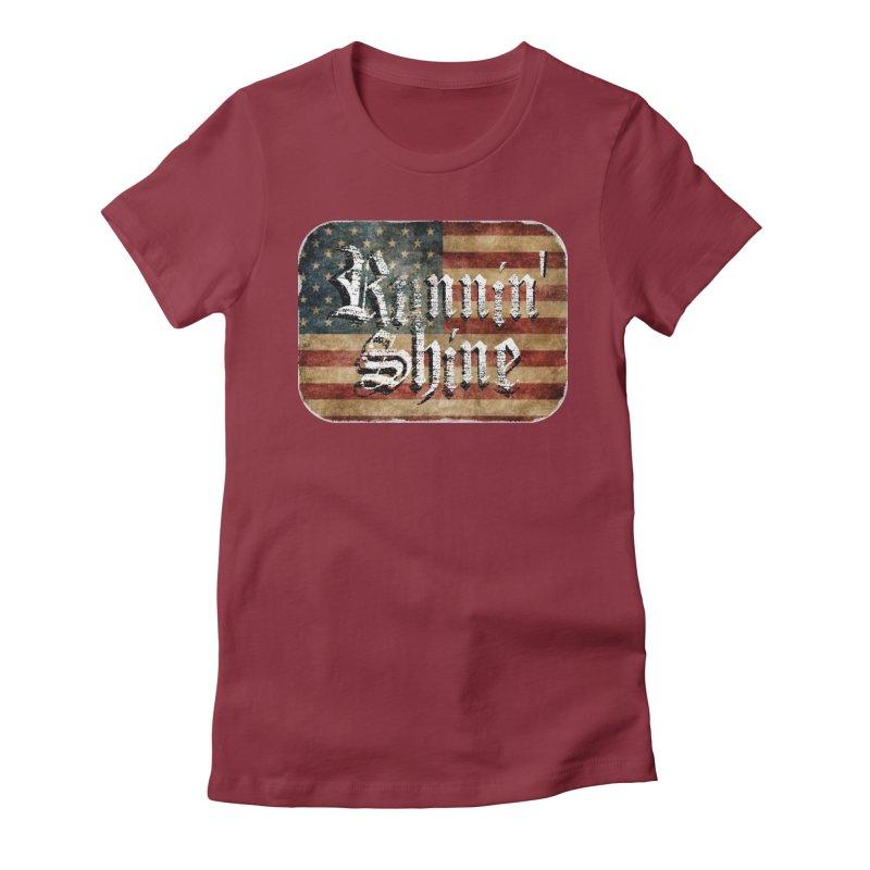 Runnin' Shine Flag Women's Fitted T-Shirt by Runnin' Shine Store