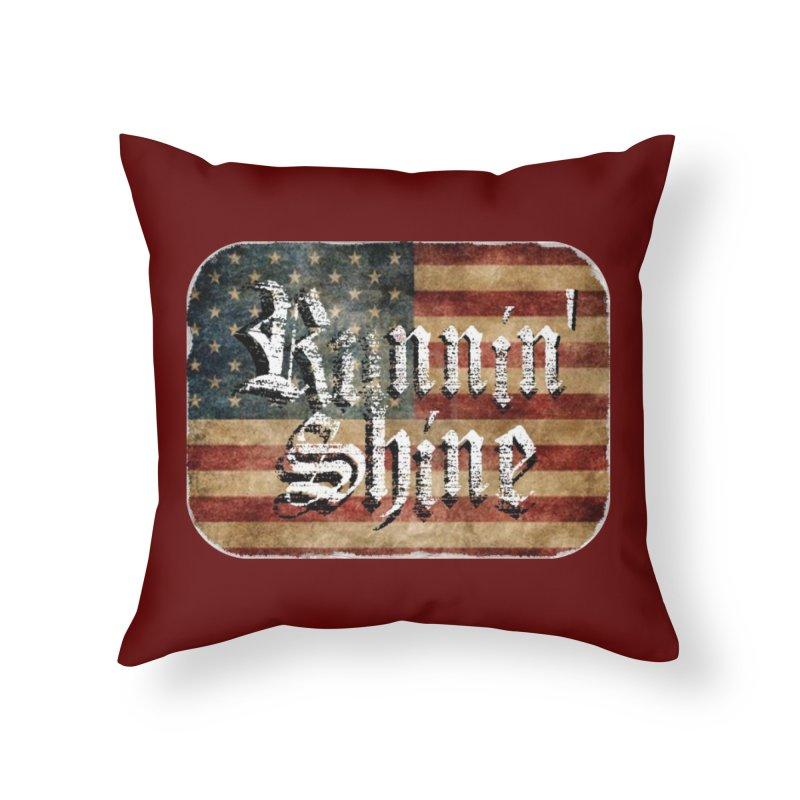 Runnin' Shine Flag Home Throw Pillow by Runnin' Shine Store