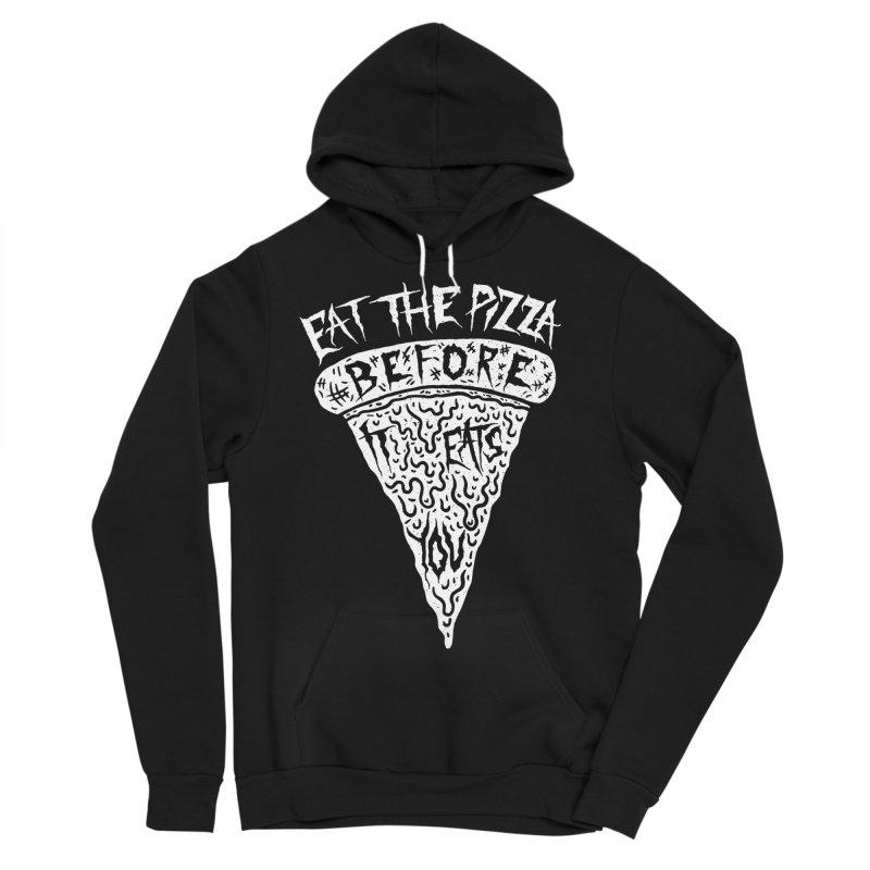 Eat The Pizza Before It Eats You Men's Sponge Fleece Pullover Hoody by Rupertbeard