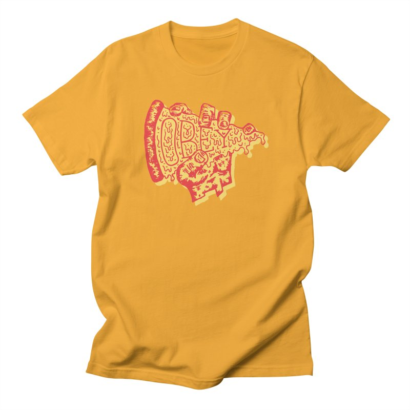 Obey The Pizza Men's T-shirt by Rupertbeard