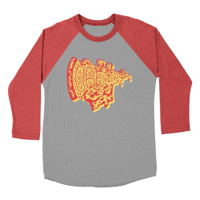 Obey The Pizza Men's Baseball Triblend T-Shirt by Rupertbeard