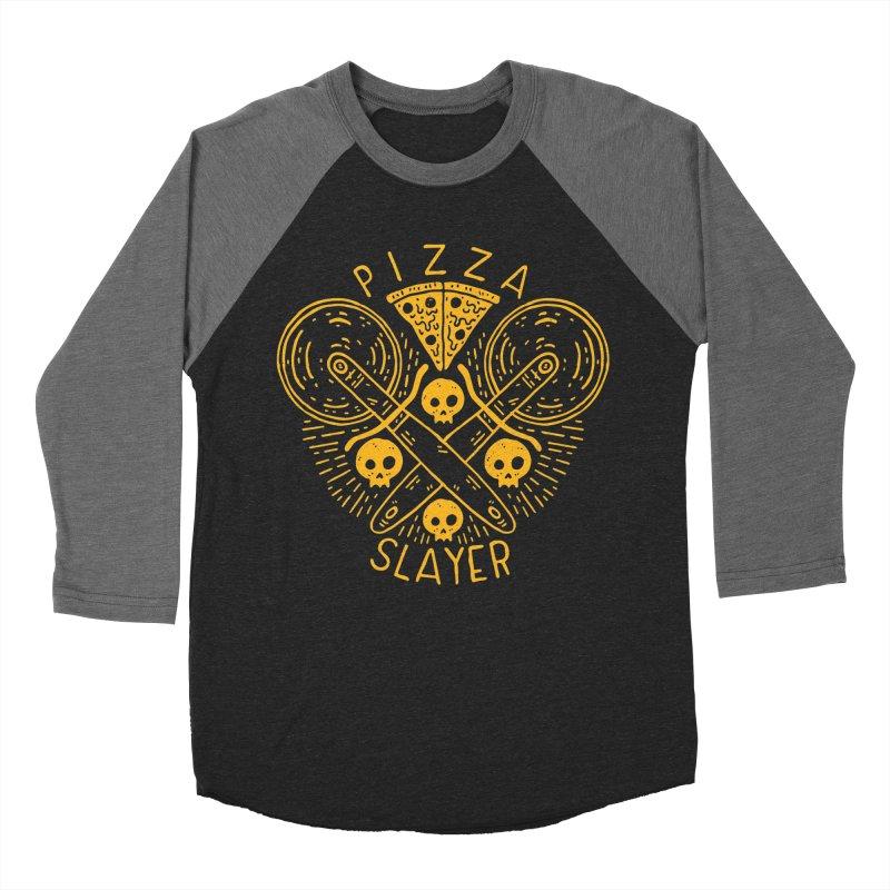 Pizza Slayer Men's Baseball Triblend T-Shirt by Rupertbeard