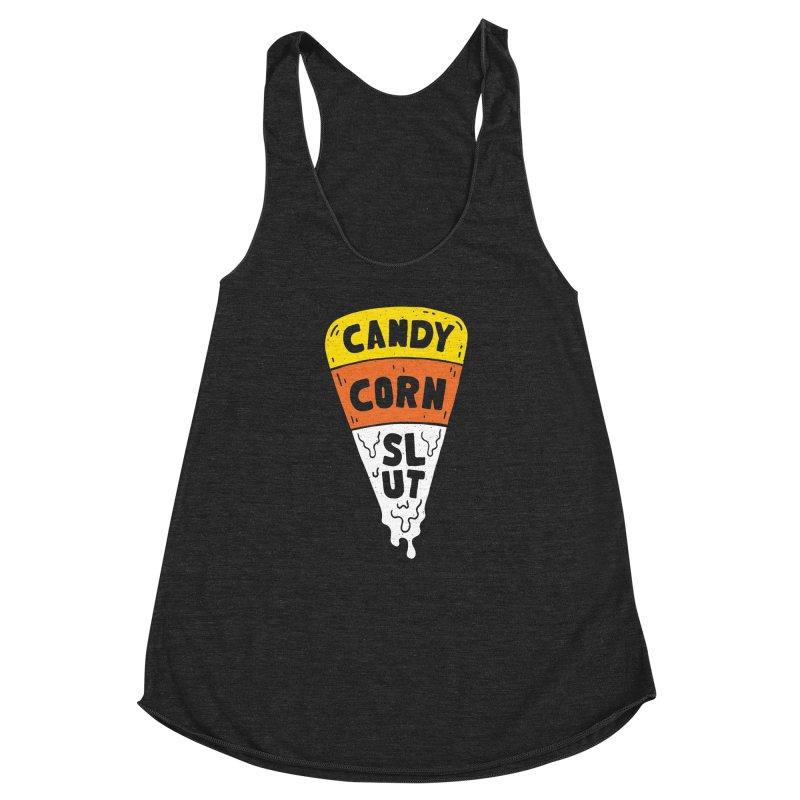 Candy Corn Slut Women's Racerback Triblend Tank by Rupertbeard