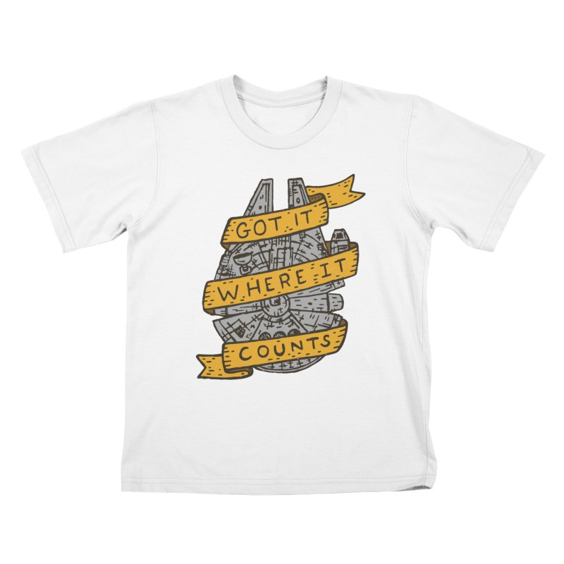 Got It Where It Counts Kids T-Shirt by Rupertbeard