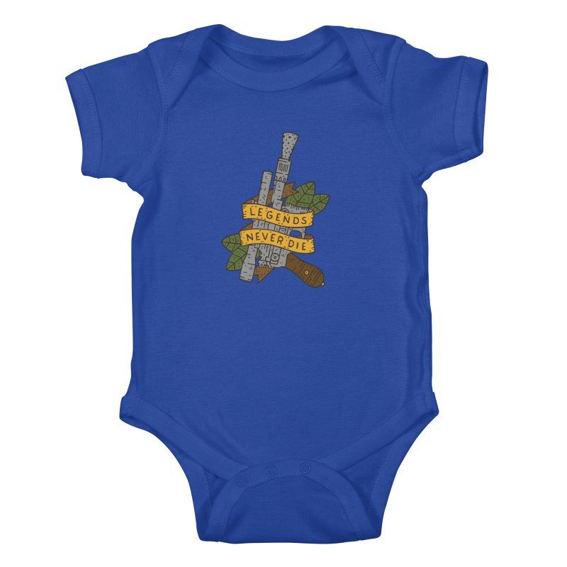 Legends Never Die Kids Baby Bodysuit by Rupertbeard