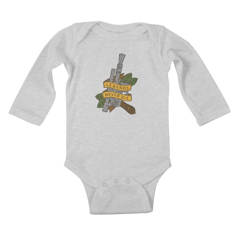 Legends Never Die Kids Baby Longsleeve Bodysuit by Rupertbeard