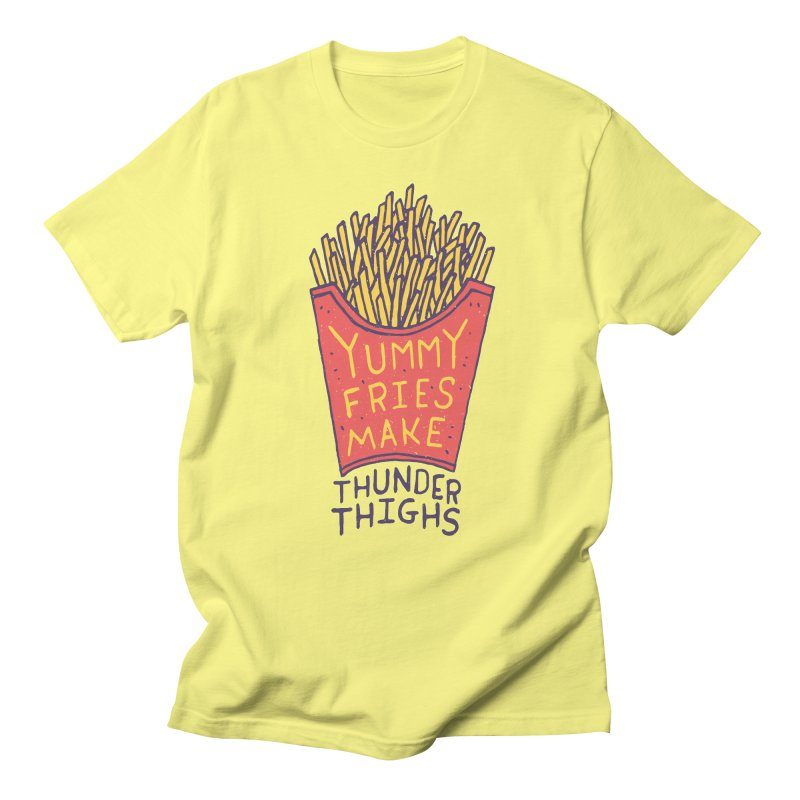 Yummy Fries Make Thunder Thighs Men's Regular T-Shirt by Rupertbeard