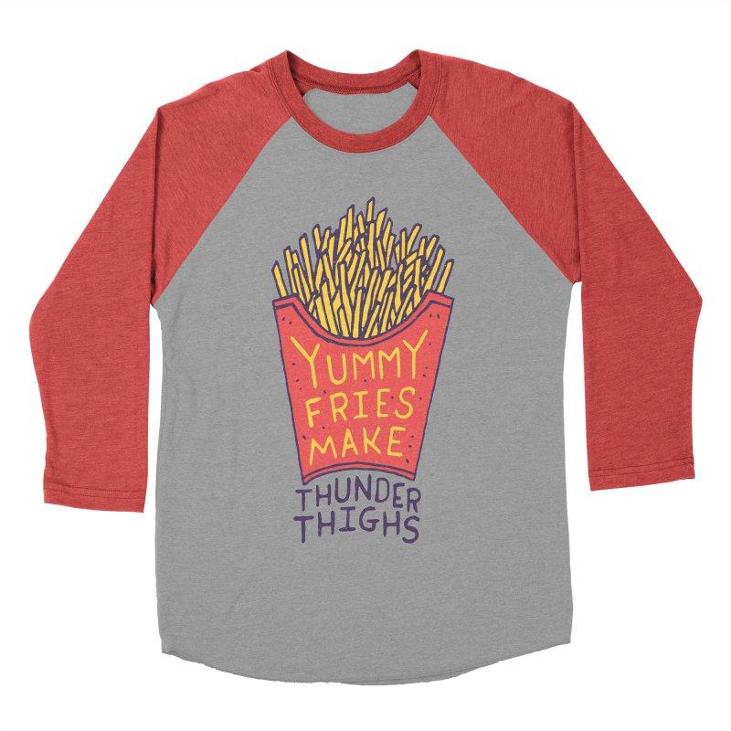 Yummy Fries Make Thunder Thighs Men's Baseball Triblend Longsleeve T-Shirt by Rupertbeard