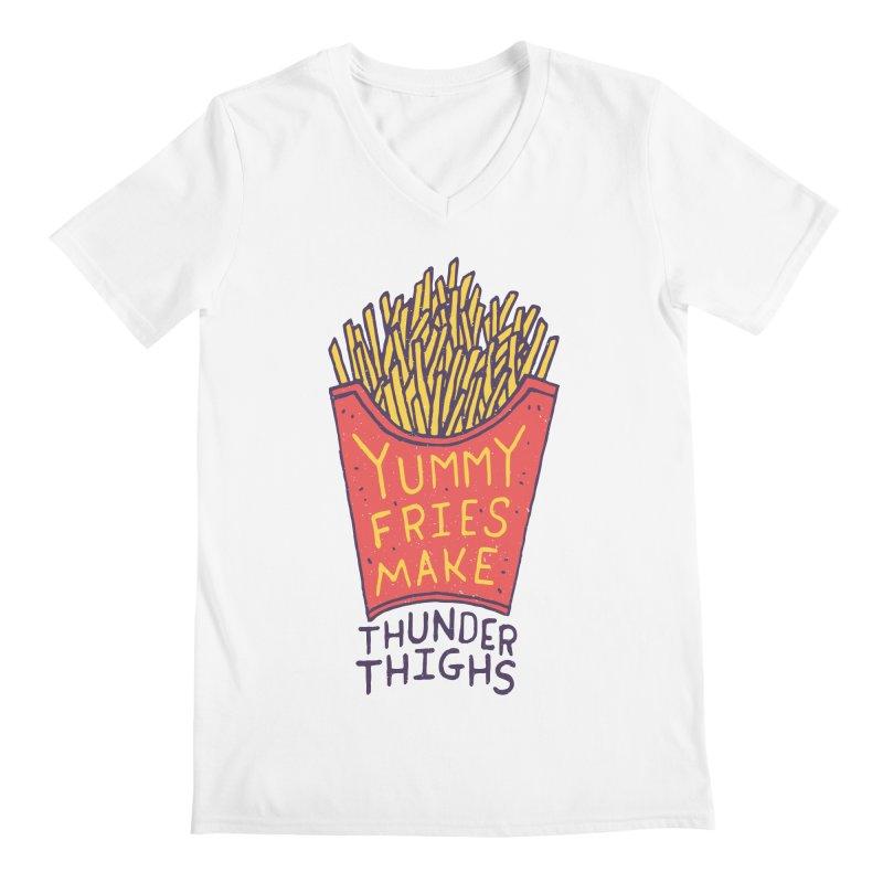 Yummy Fries Make Thunder Thighs Men's Regular V-Neck by Rupertbeard