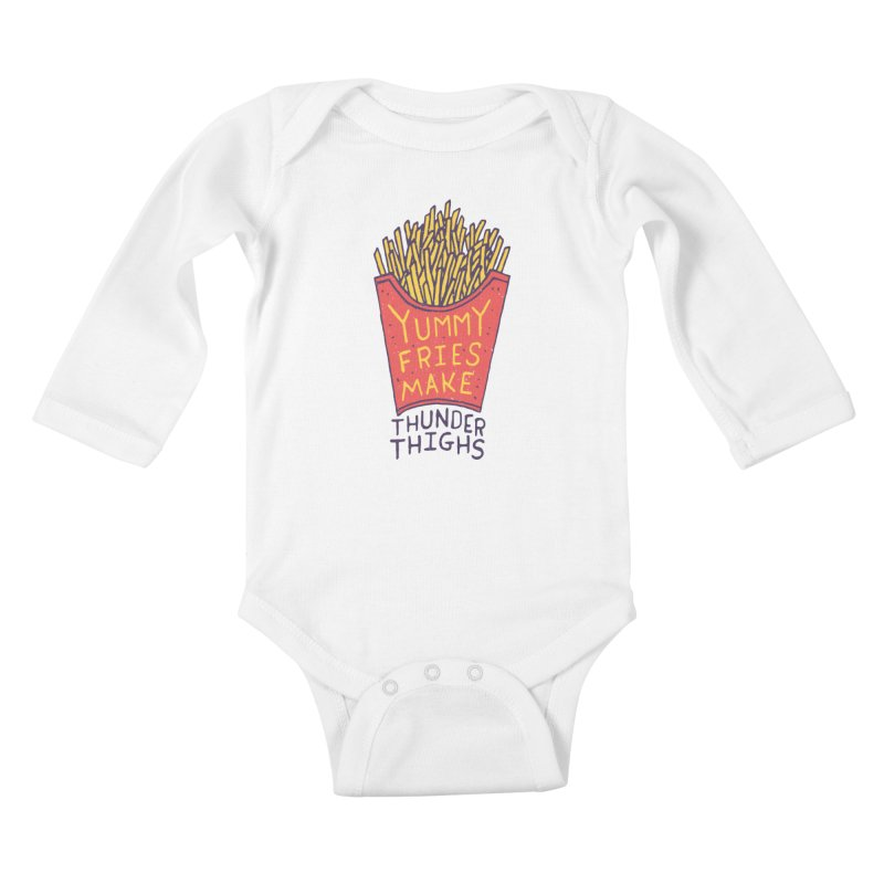 Yummy Fries Make Thunder Thighs Kids Baby Longsleeve Bodysuit by Rupertbeard
