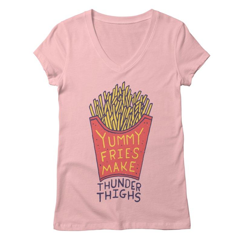 Yummy Fries Make Thunder Thighs Women's V-Neck by Rupertbeard