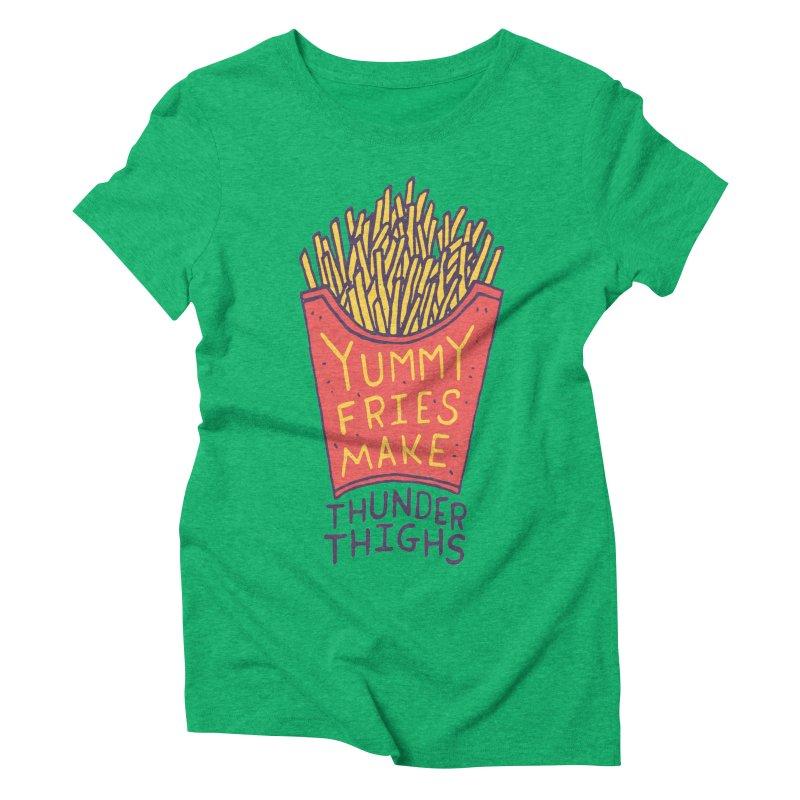 Yummy Fries Make Thunder Thighs Women's Triblend T-Shirt by Rupertbeard