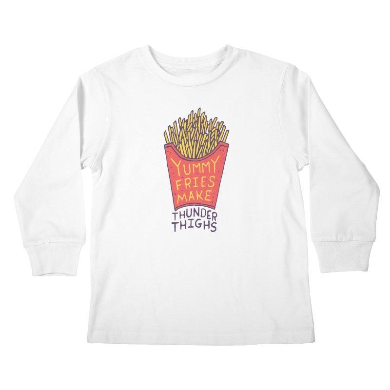 Yummy Fries Make Thunder Thighs Kids Longsleeve T-Shirt by Rupertbeard