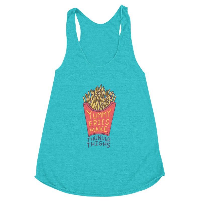 Yummy Fries Make Thunder Thighs Women's Racerback Triblend Tank by Rupertbeard