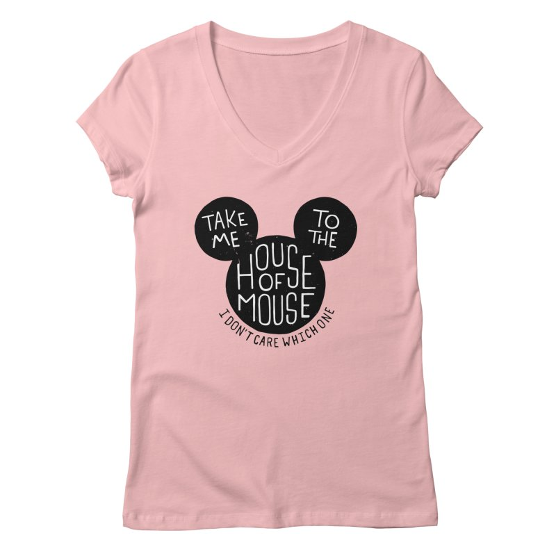 Take Me To The House Of Mouse Women's Regular V-Neck by Rupertbeard