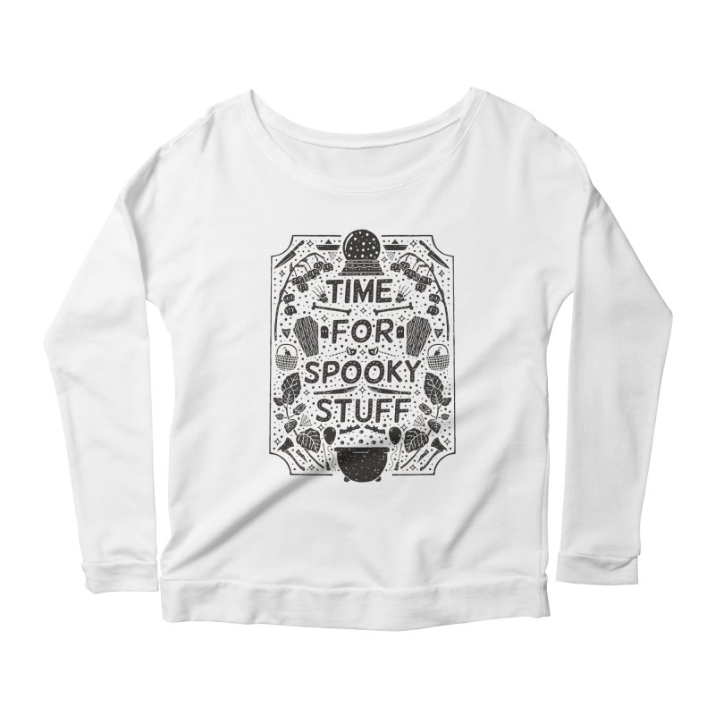 Time For Spooky Stuff (black) Women's Scoop Neck Longsleeve T-Shirt by Rupertbeard