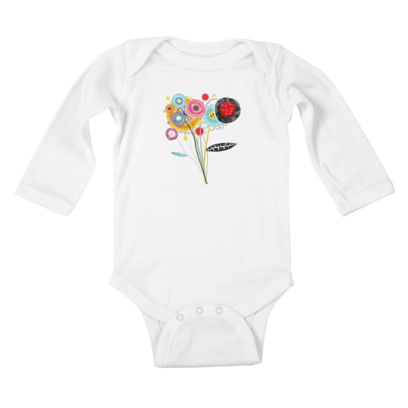 Wedding Bouquet Ranunculus Kids Baby Longsleeve Bodysuit by rupydetequila's Shop