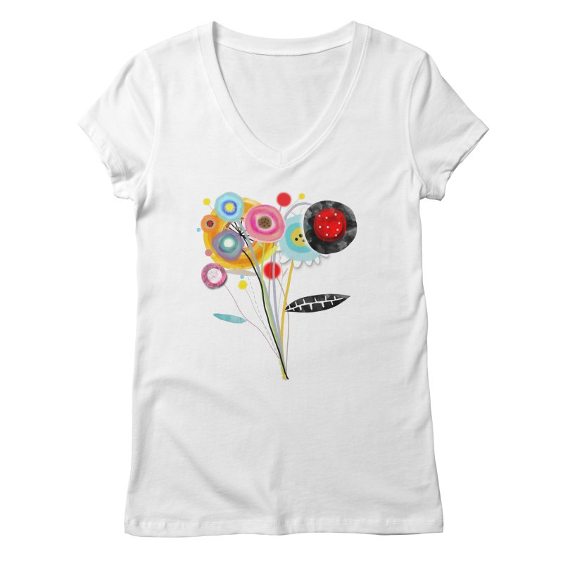Wedding Bouquet Ranunculus Women's Regular V-Neck by rupydetequila's Shop