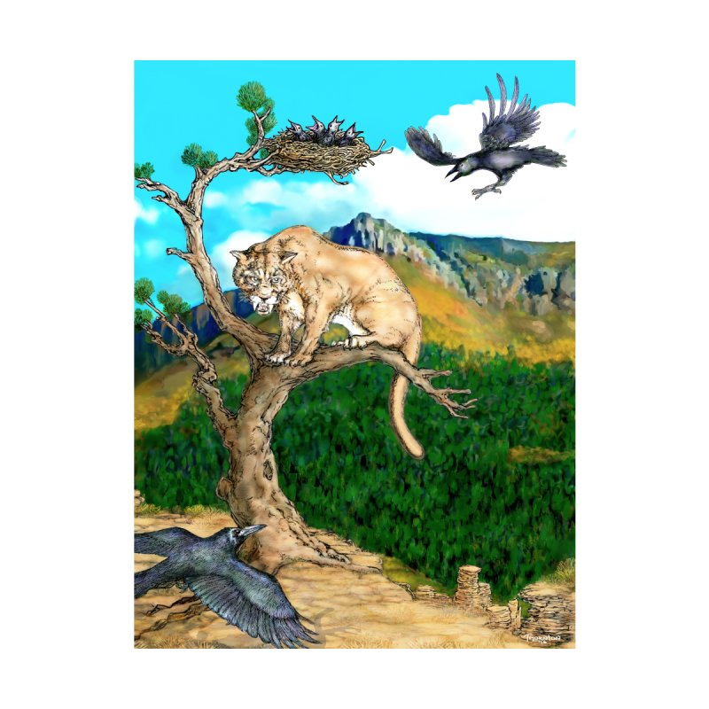 Catamount & the Crows - Wall Art Accessories Zip Pouch by russellthornton's Artist Shop