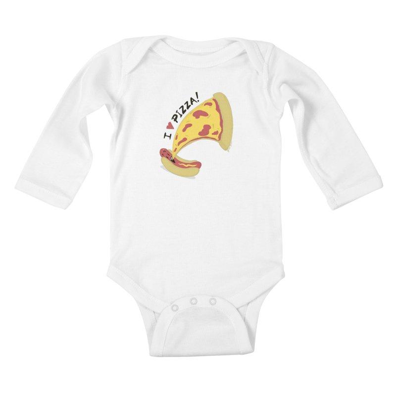 I Love Pizza Kids Baby Longsleeve Bodysuit by Russodraw's Artist Shop