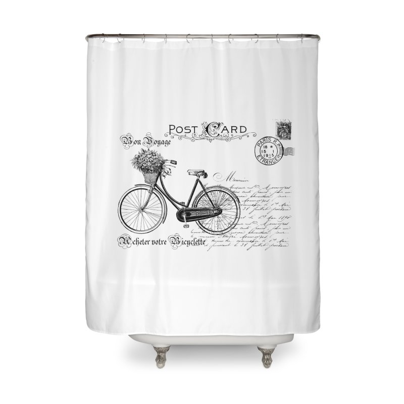BICYCLE POST CARD BEACH HOUSE SHOWER CURTAIN