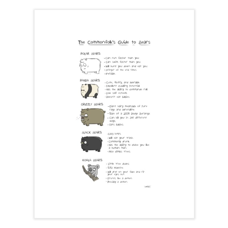 The Commonfolk's Guide To Bears - Print Home Fine Art Print by Rustled Jimmies