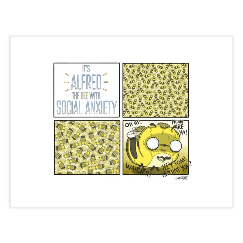 The Bee With Social Anxiety - Print Home Fine Art Print by Rustled Jimmies