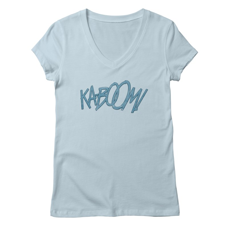 Ka-Boom! Blue Women's V-Neck by rus wooton