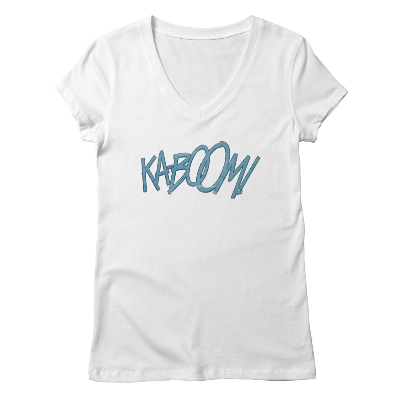 Ka-Boom! Blue Women's V-Neck by rus wooton
