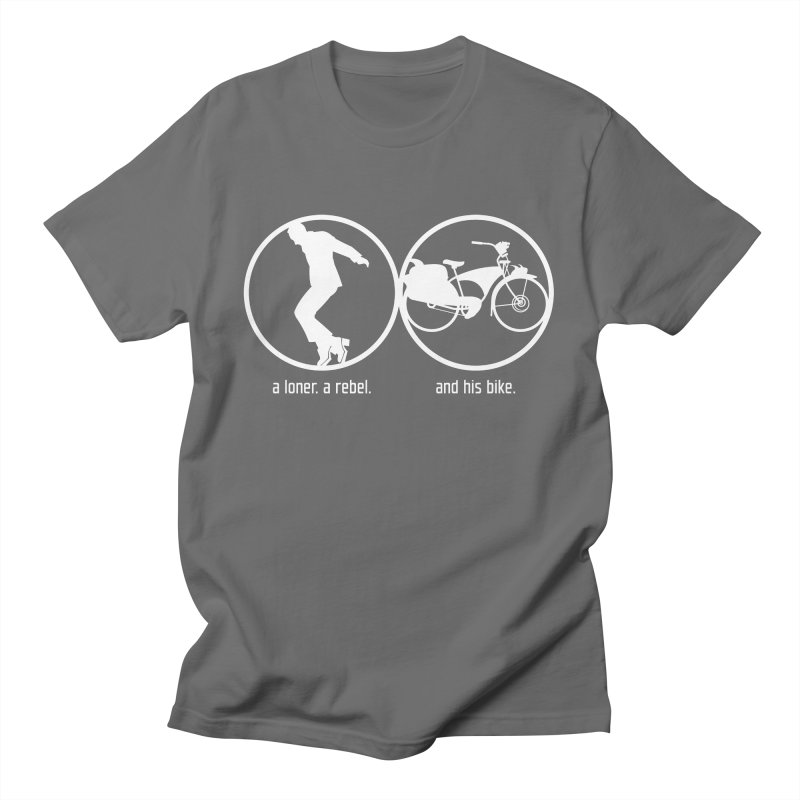 a loner. a rebel. and his bike. Men's T-Shirt by rus wooton
