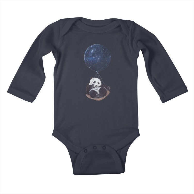 Panda Kids Baby Longsleeve Bodysuit by ruta13art's Artist Shop