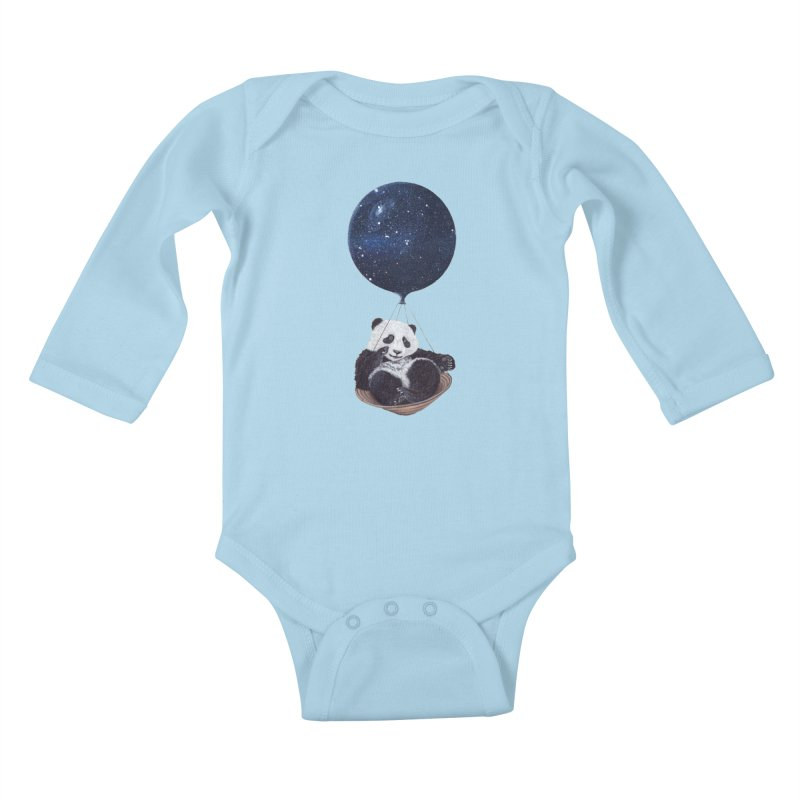 Panda Kids Baby Longsleeve Bodysuit by ruta13art's Artist Shop