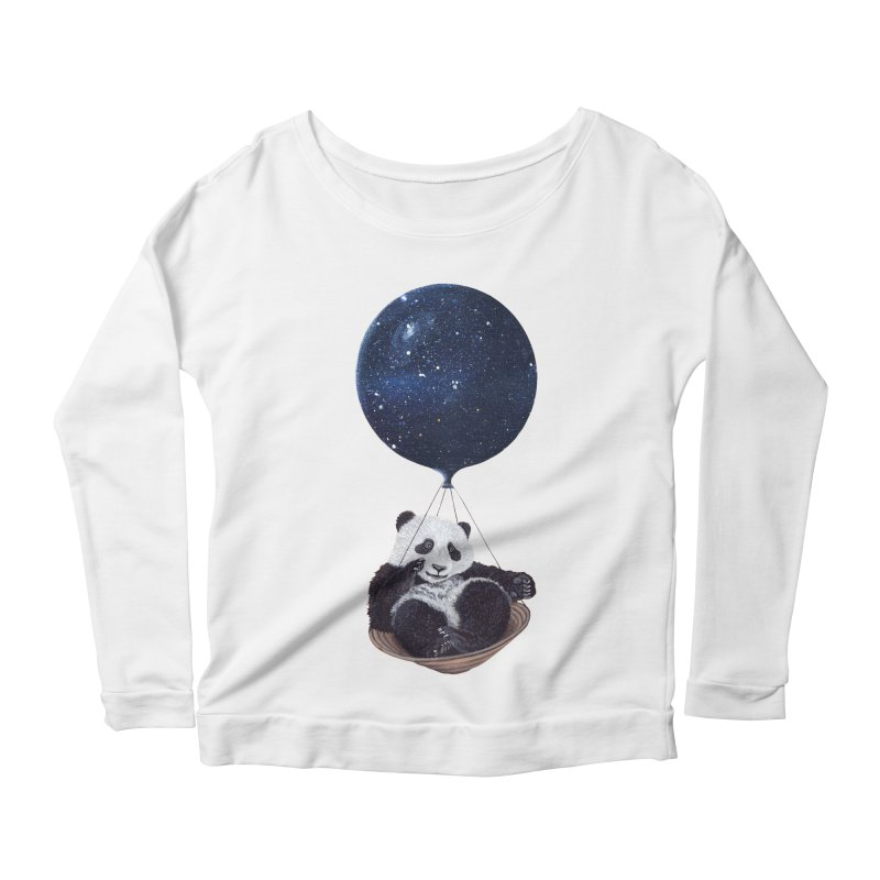 Panda Women's Longsleeve Scoopneck  by ruta13art's Artist Shop