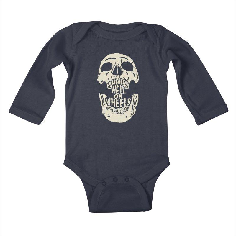 Hell On Wheels (Bone) Kids Baby Longsleeve Bodysuit by Ran When Parked Supply Co.