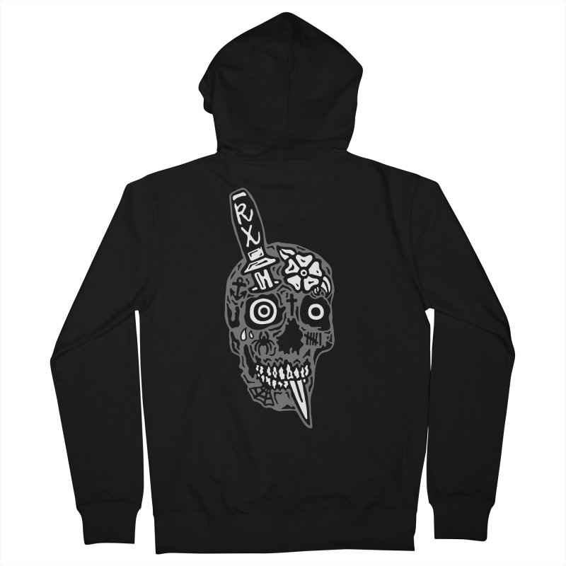 Rx Tattooed Skull Men's French Terry Zip-Up Hoody by RX Skulls