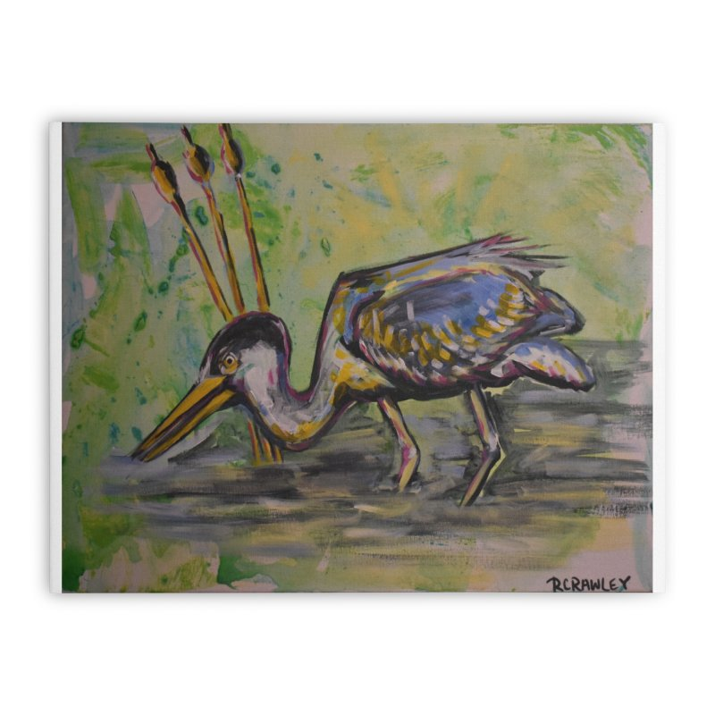 Blue Heron III Home Stretched Canvas by Rcrawley Art - Shop