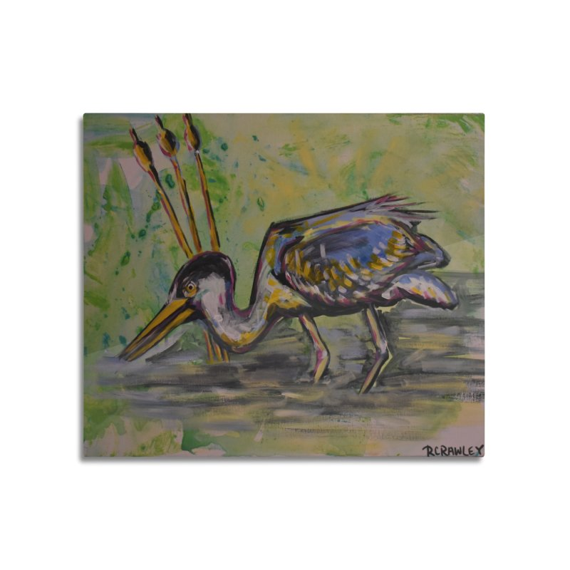 Blue Heron III Home Mounted Aluminum Print by Rcrawley Art - Shop