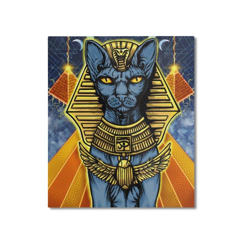 Pharaoh Space Cat Home Mounted Aluminum Print by RyanJackAllred