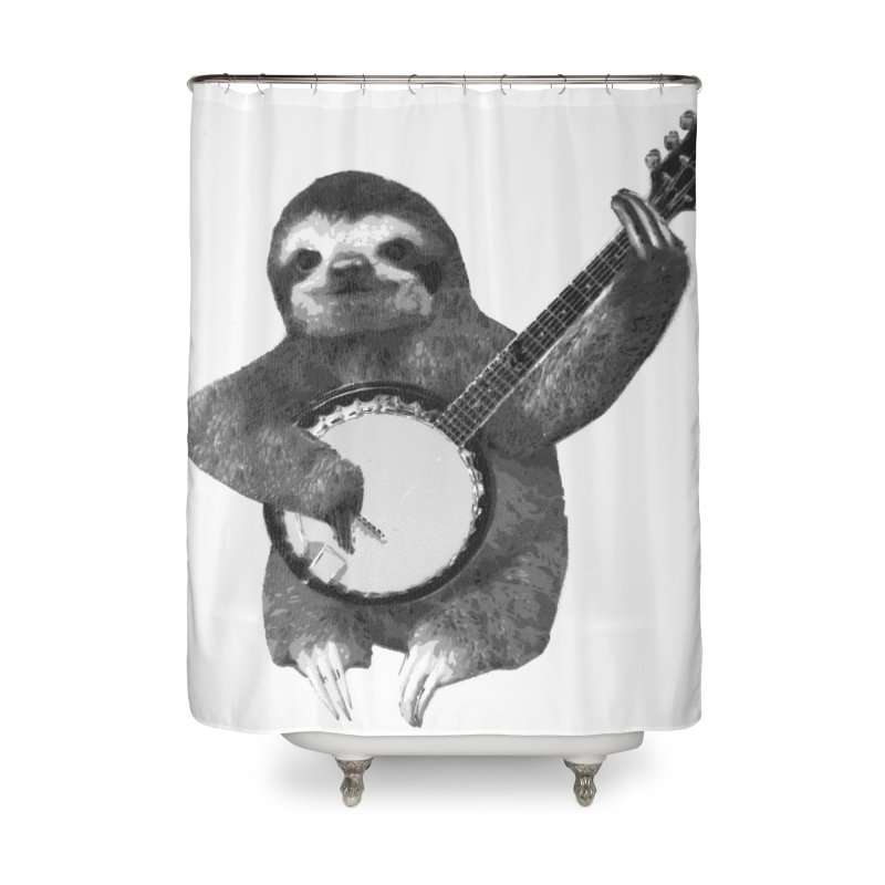Banjo Sloth Home Shower Curtain by Art of Ryan Winchell