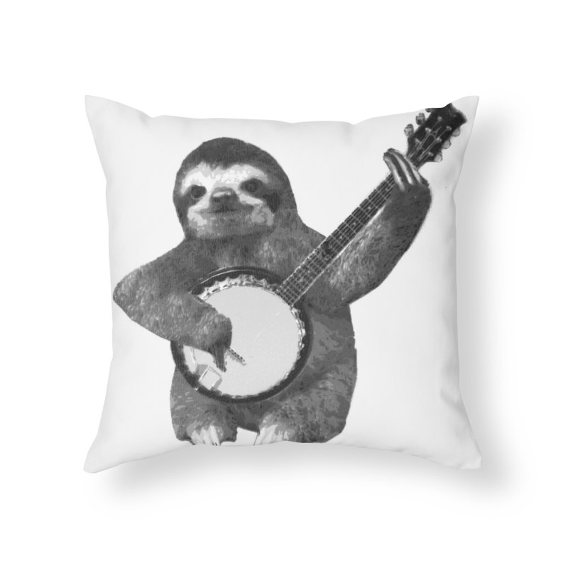 Banjo Sloth Home Throw Pillow by Art of Ryan Winchell