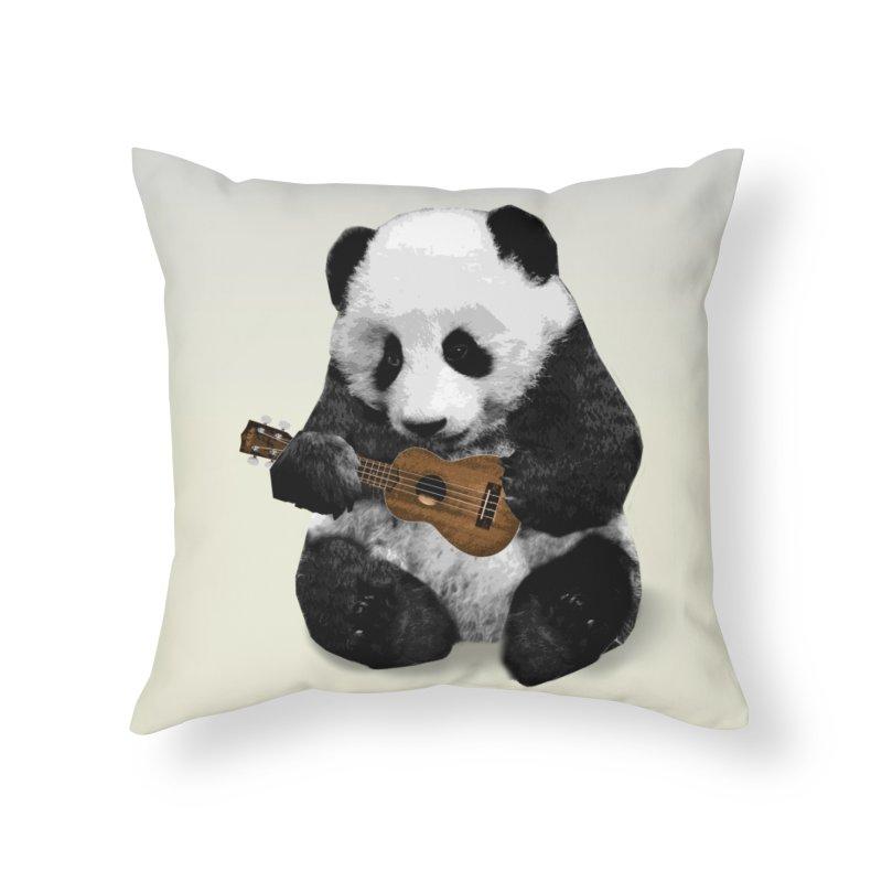 Ukulele Panda Home Throw Pillow by Art of Ryan Winchell