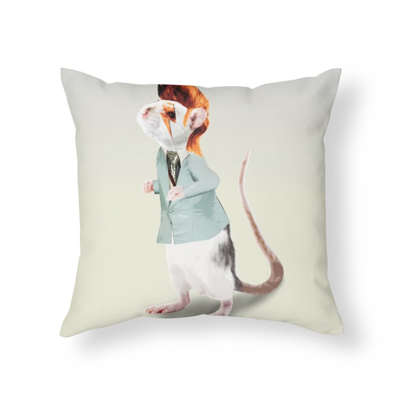 Bowie Rat Home Throw Pillow by Art of Ryan Winchell