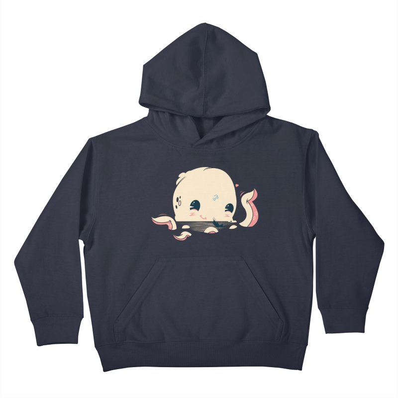 Adorable Octopus Battle Kids Pullover Hoody by Ryder Doty Shop